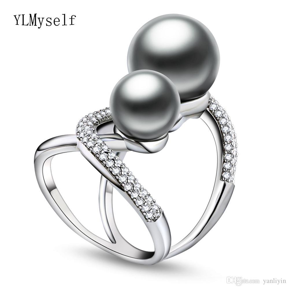Anillo grande de la perla de la manera joyería cristalina joyería de alta calidad de las mujeres de moda grandes anillos de dedo hermosos