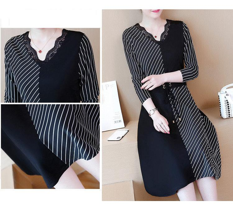 2019 Korean Fashion Women Dress Autumn Large Size Dresses Striped Patchwork Dress Ladies Lace V-Neck Long Sleeve Vestidos Robe Femme (7)