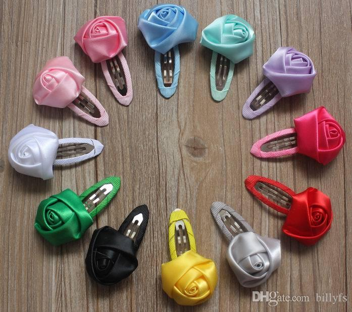 50pcs 4cm Satin Ribbon Rolled Rose Flower with Hair Clip for Girls,Clothing Accessory,Hair Clip Flowers,Clothe Flower