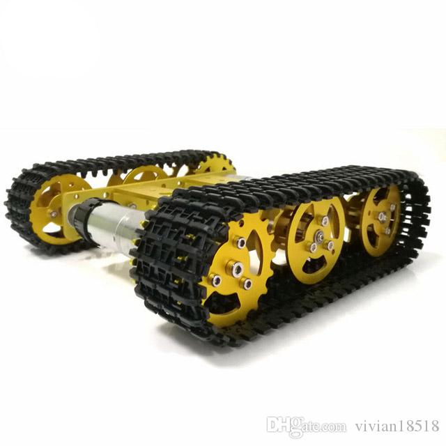 RC Metal Robot Tank Chassis mini T100 Crawler Caterpiller Tracked Vehicle with Plastic Track 2 Motors for Robot Platform RC