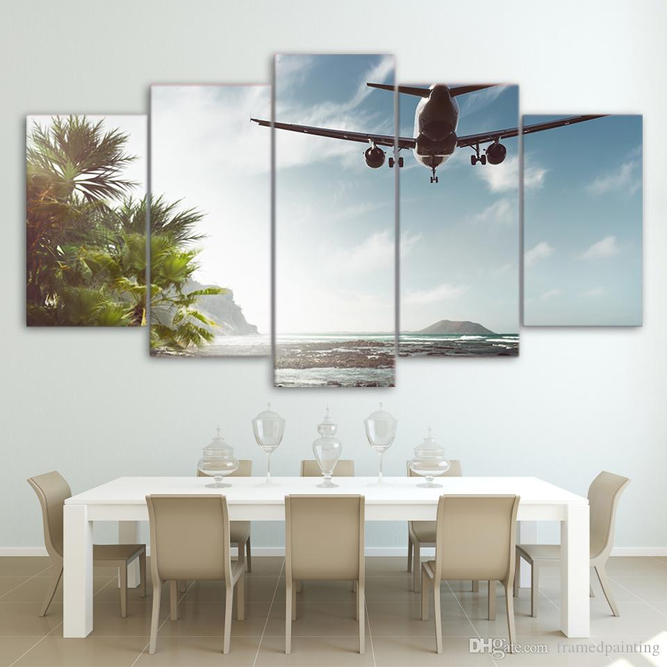 HD Printed 5 Piece Canvas Art Airplane Fly Over Sea Canvas Print Wall Pictures for Living Room Home Decor Free Shipping