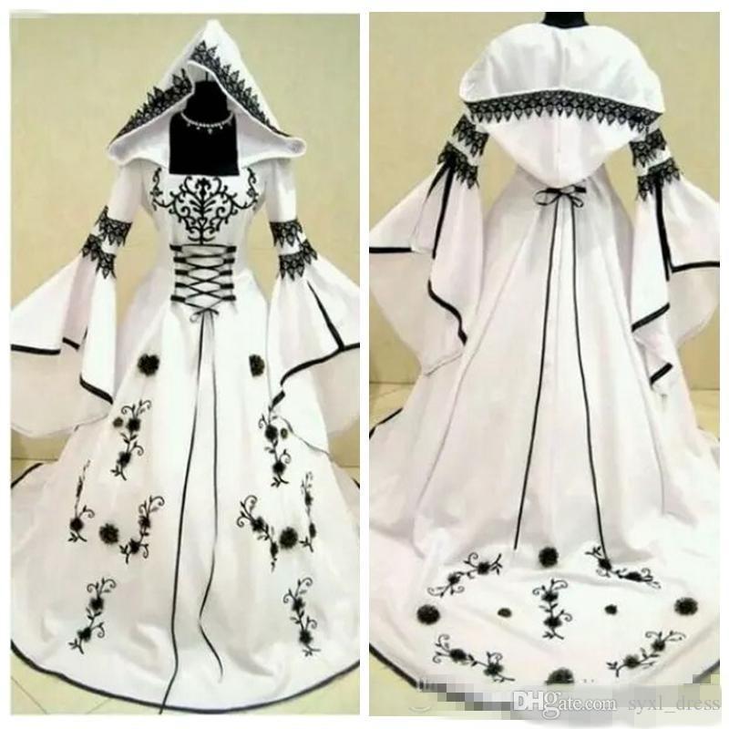2018 Unique A-Line Black Lace White Satin Gothic Wedding Dresses With Hat Bridal Gowns Flowers Adorned Vestidos De Mariee