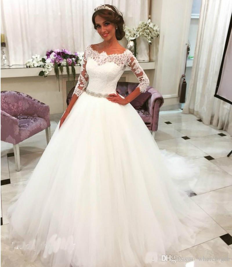 New Romantic 2019 White Wedding Dresses Ball Gown Tulle Lace Long Bridal  Party Gowns Plus Size Informal Wedding Dresses Italian Wedding Dress Mature  ...