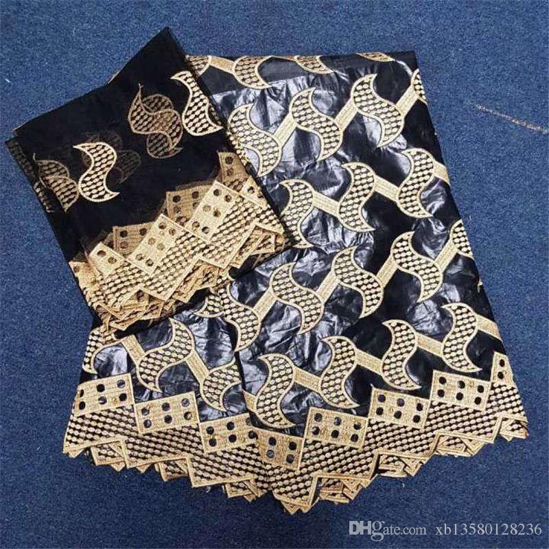 2018 новый дизайн нигерийский Базен Рич ткань вышитые Африканский Базен Рич Getzner для мужчин или женщин ткань 5 + 2Yards
