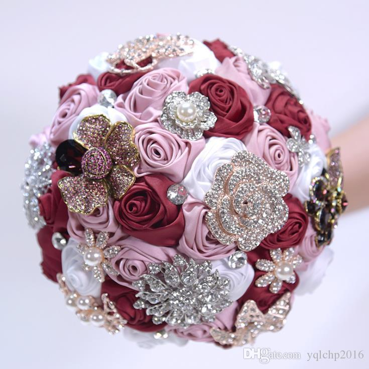 Свадебные материалы, симуляция, атласная роза, цветочная невеста, ручной букет