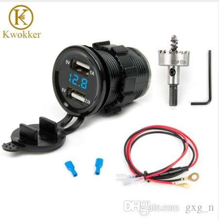 12V 듀얼 USB 자동차 전자 자동차 충전기 어댑터 담배 라이터 소켓 + LED 디지털 Voltmeter 미터 + 30mm HSS 드릴링 구멍 톱