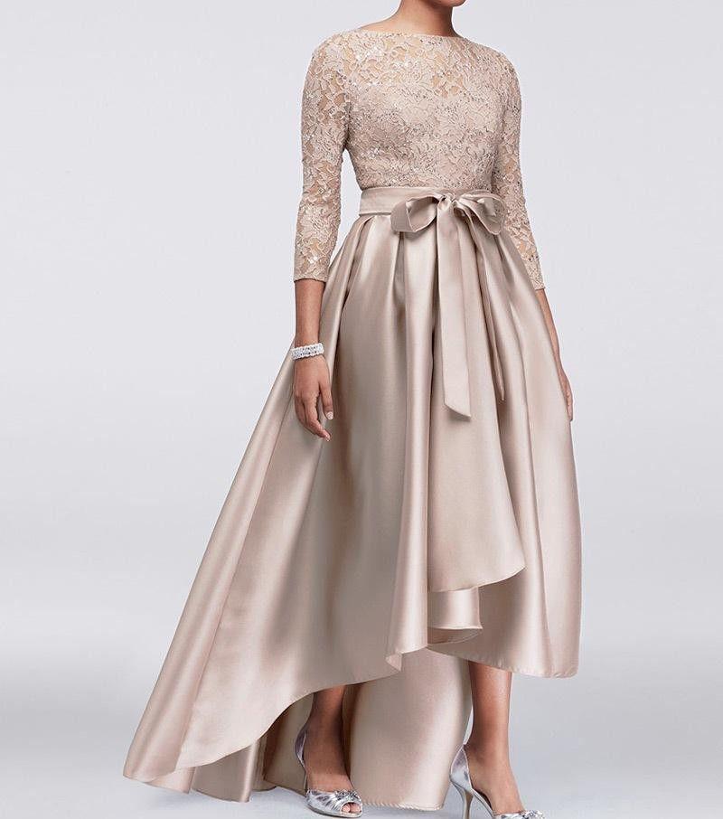 Блестящий эластичный шелк высокой низкой матерью невесты платье линии три четверти рукава бусины кружева короткие свадьбы свадьбы свадьбы шампанское