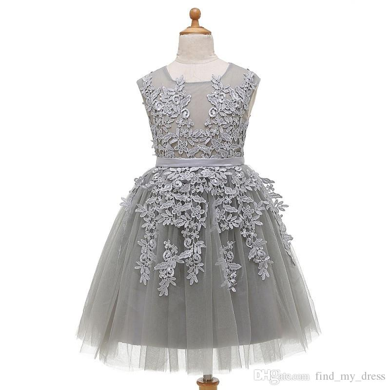 Silver Gray A Line Flower Girl Dresses Cupcake New Sash Toddler Floor Length Wedding Party Gowns Sheer Appliques Baby Fashion Real Picture