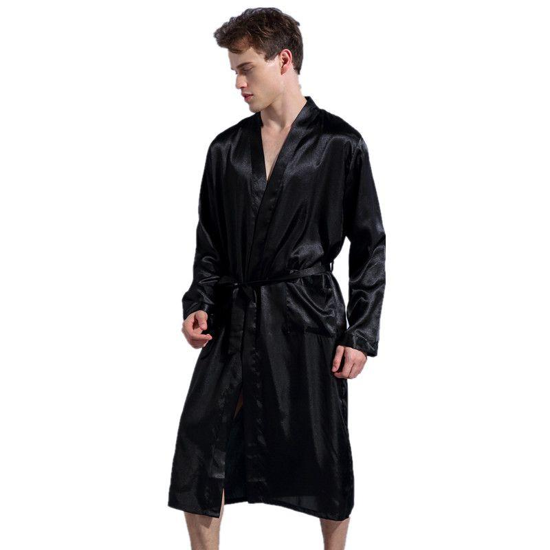 Black Long Sleeve Chinese Men Rayon Robes Gown New Male Kimono Bathrobe Sleepwear Nightwear Pajamas S M L XL XXL