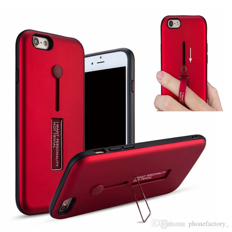 Custodie ibride in TPU con cavalletto per samsung galaxy s5 S8 Note 9 Iphone 6 X XS MAX XR 8 7 6S Plus 5S