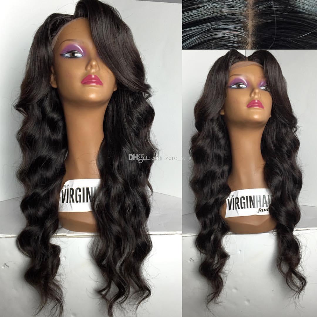 180% Densidade do cabelo dianteira do laço humano perucas de cabelo da onda do corpo de Remy do brasileiro Pré arrancada Natural da linha fina com o cabelo do bebê