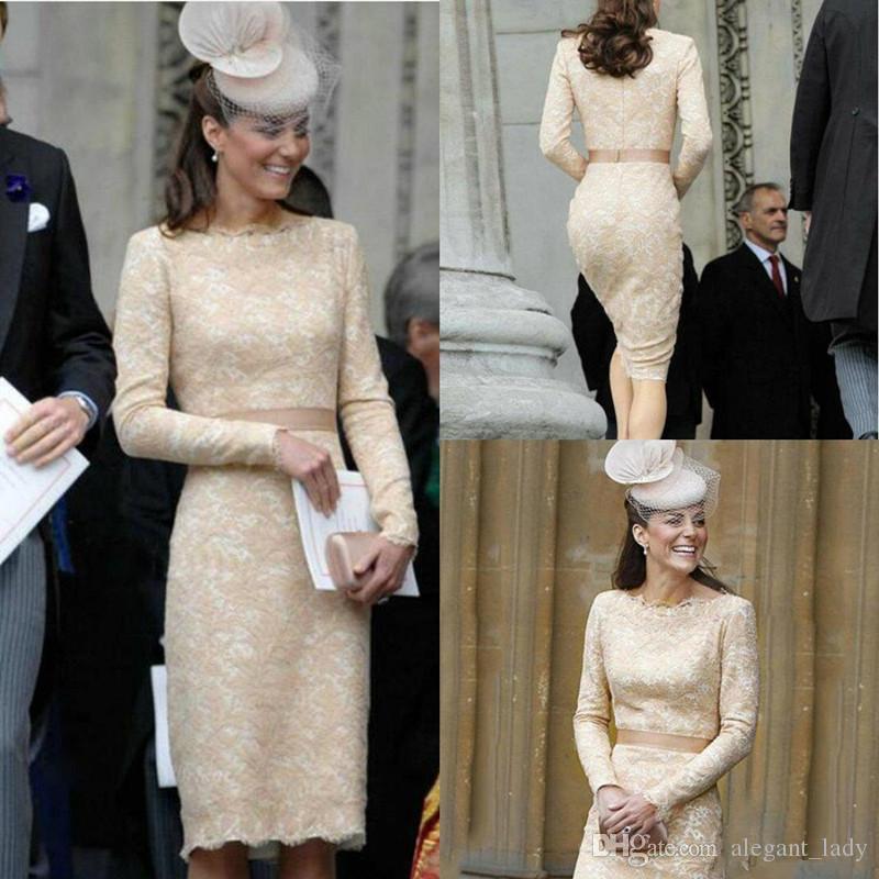 2018 Mother Of The Bride Dresses Fabulous Lace Bateau Neckline Sheath Knee-length Formal Dresses Kate Middleton Wedding Guest Gowns