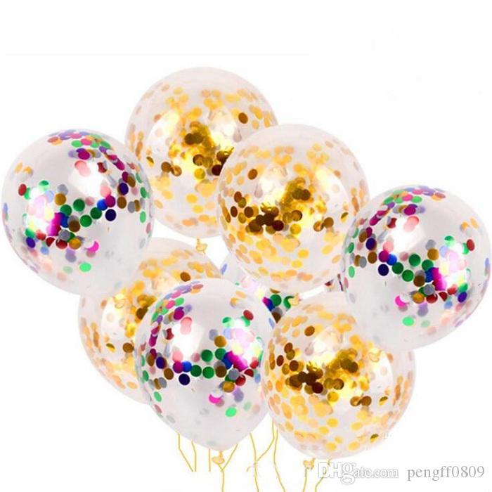 Düğün Için lateks Balon Konfeti Noktalar altın karışık renkler / bebek duş / tavuk / Teklif DIY Parti Dekorasyon Malzemeleri