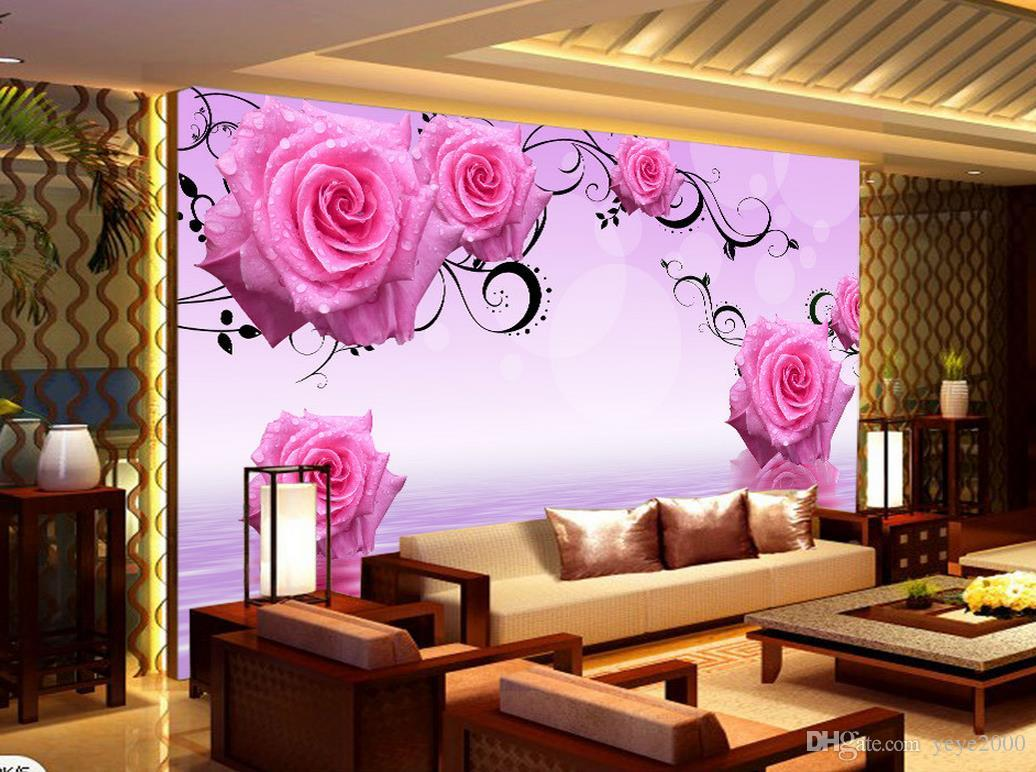 3d Wallpaper Walls Pink Water Rose Flower Tv Background Wall Decorative Painting Beautiful Scenery Wallpapers Free Wallpaper Backgrounds Free