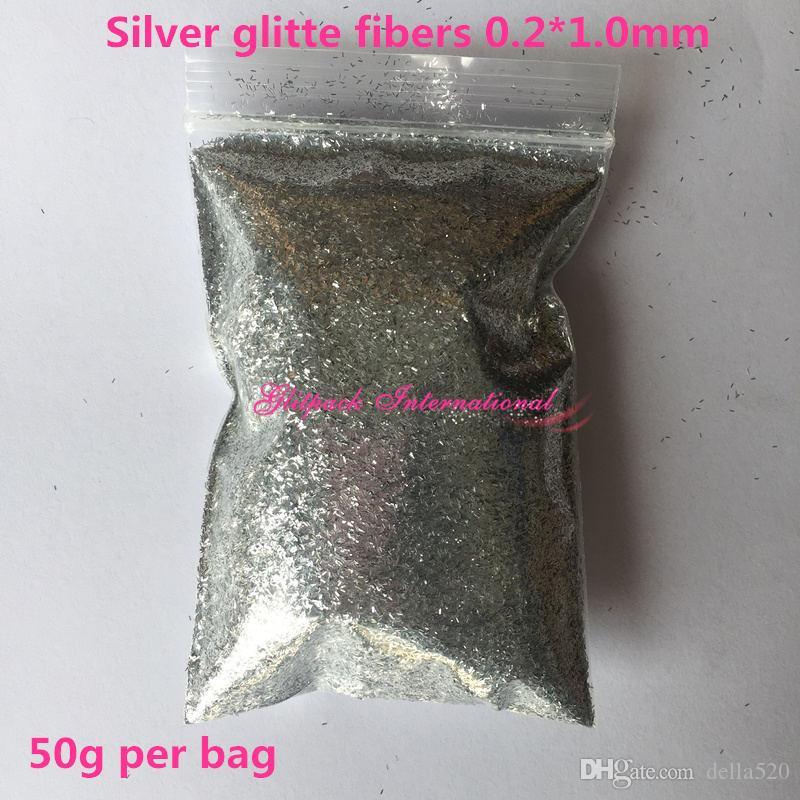 B0100 50g glitter 0.2 * 1.0mm gümüş glitter Metalik Tinsel Şerit Glitter tırnak sanat çanta ambalaj Işçiliği