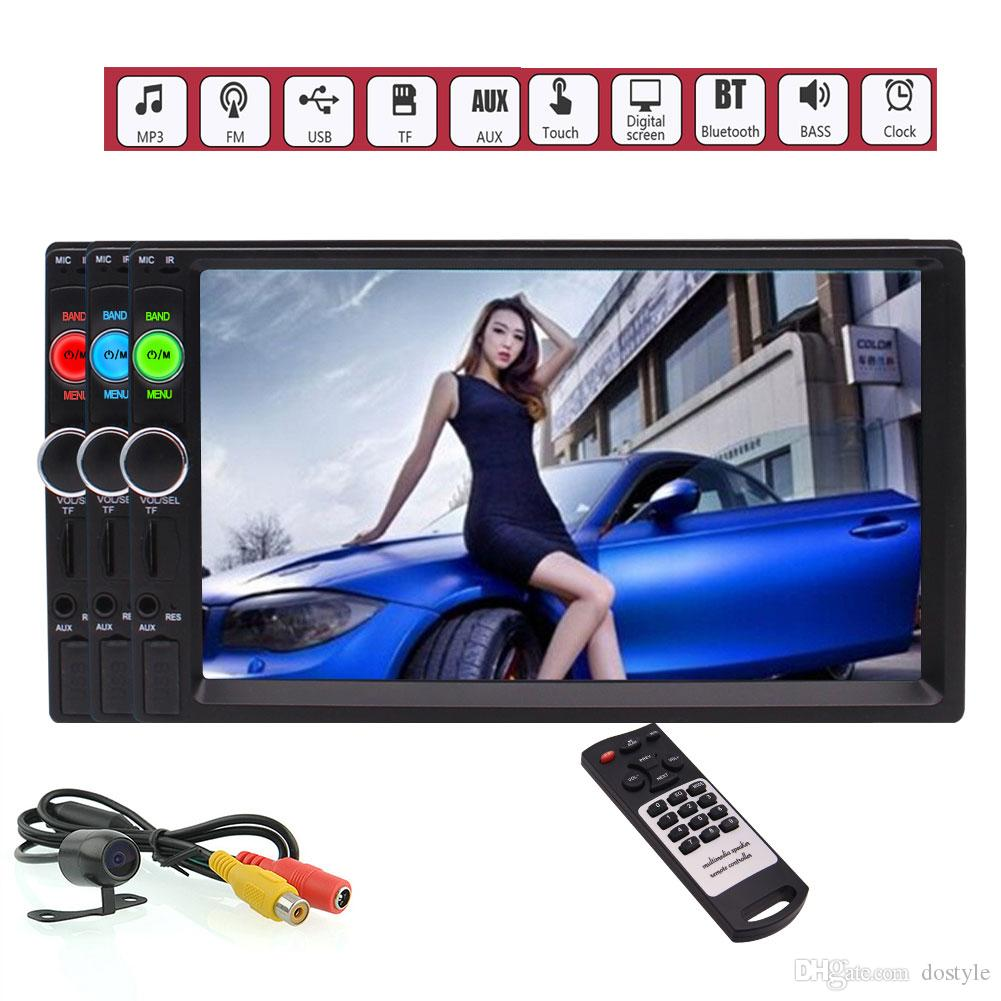 7'' 2 Din in Dash Stereo Car MP5 Player Handsfree Bluetooth Wireless Music Stream Autoradio Video Head Unit Capacitive Touch Screen FM USB