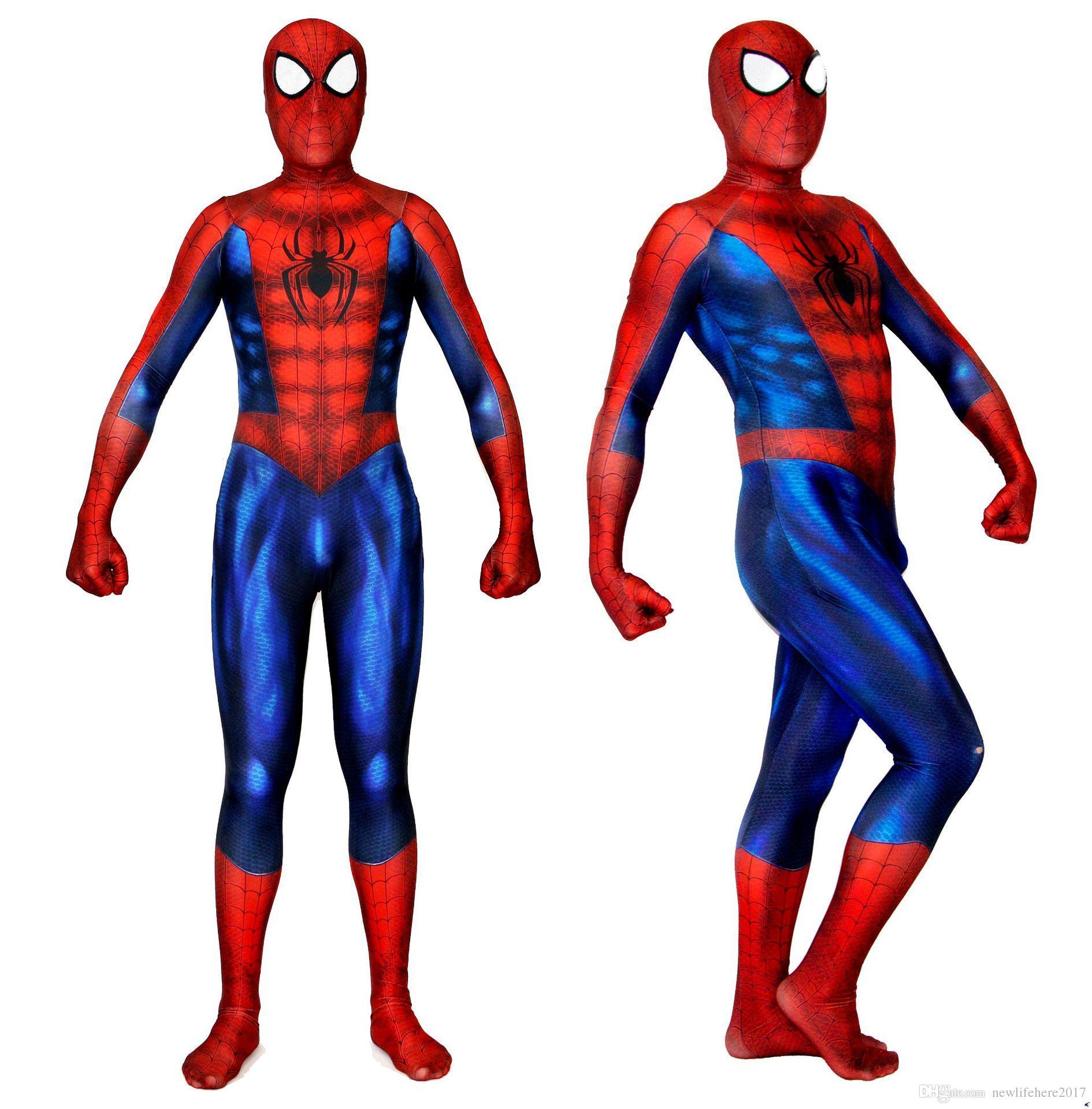 Örümcek-Adam Kostüm Lycra 3D Örümcek Baskı Suit Spandex Örümcek-adam Bodysuit Cosplay