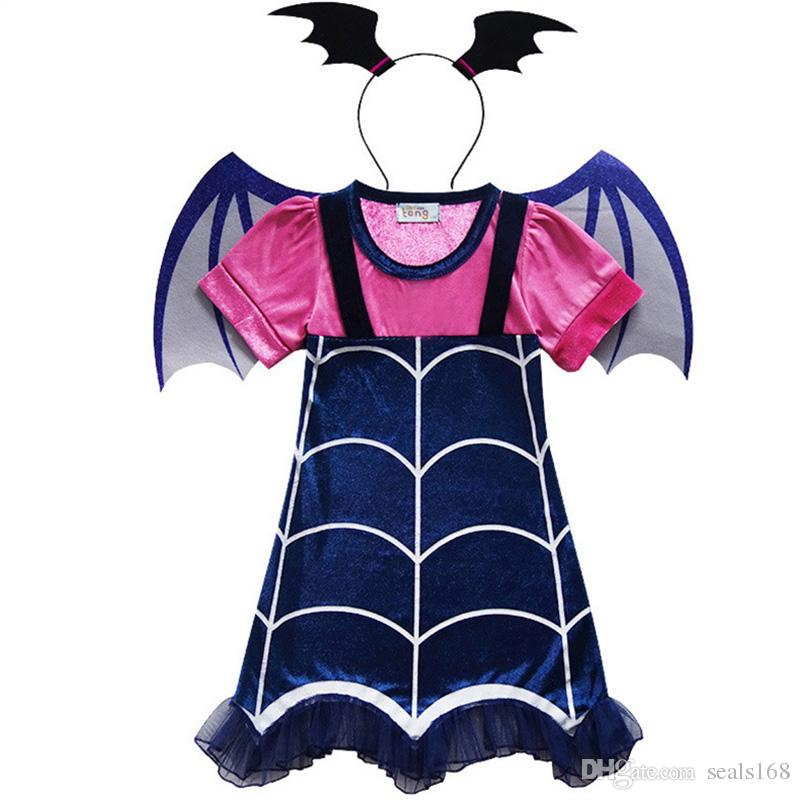 Vampirina Cartoon Deisign Half Sleeves Costumes Dress For Kids Children Party Celebration With Hair Band Halloween XMAS Clothing HH7-332