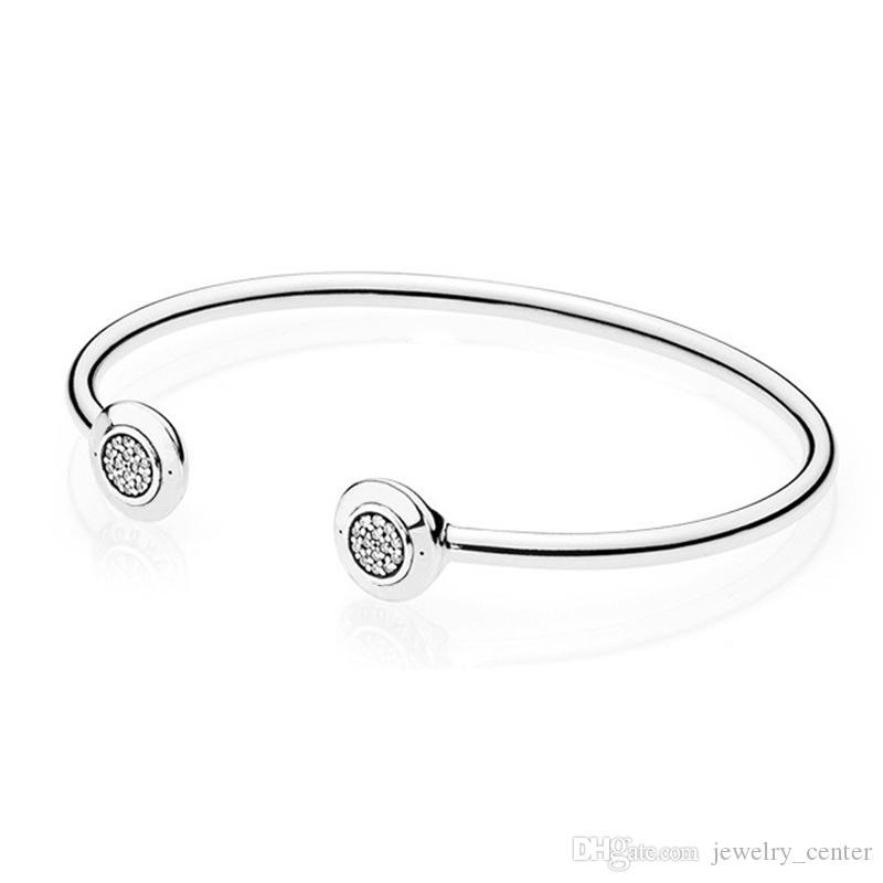 Authentic 925 Sterling Silver Cuff Bangle for Women Brand Logo fit Pandora Charm Beads Silver Bracelet DIY Jewelry Gift