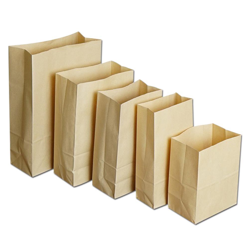 100 Pz / lotto Marrone Fondo Piatto Carta Kraft Sacchetto di Imballaggio Spuntino di Pane Artigianato Sacchetto di imballaggio Open Top Stand Up Food Packing Sacchetto di carta