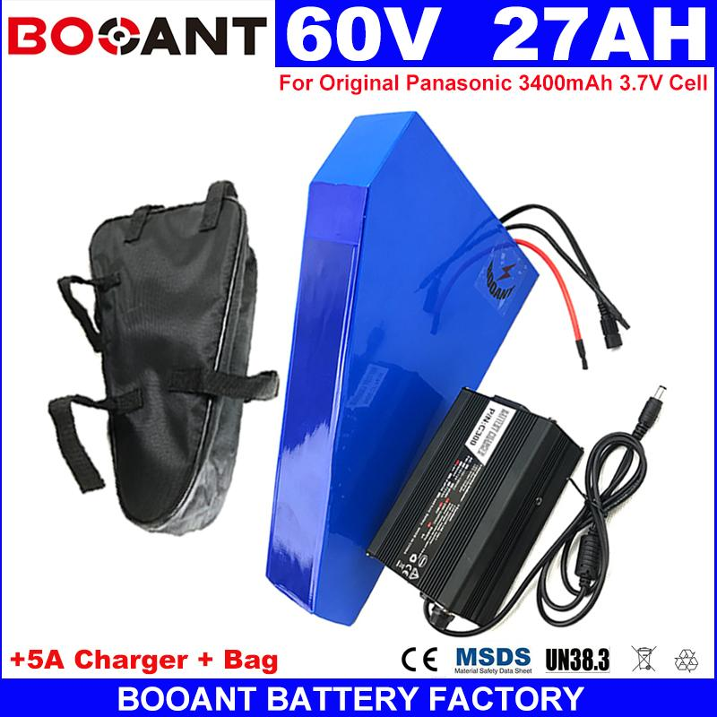 BOOANT geben Verschiffen 60V Dreieck E-Fahrrad Lithium-Batterie 27AH elektrische Autobatterie 1500W + 5A Ladegerät 30A BMS keine Steuer zu EU US frei