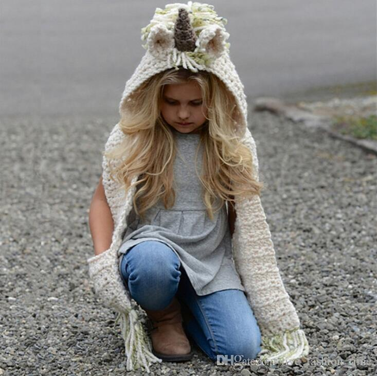 2018 New Baby Girls Cartoon Unicorn Knitting Tassels Capes Kids Hats Shawls Child Poncho Knit Wraps Hooded Jackets Children Outerwears