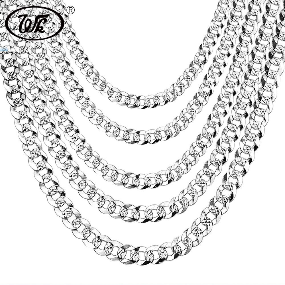 "WK 100% 925 Sterling Silver Mens Silver Chain Necklace Men Hip Hop Rapper Curb Cuban Link Chain Male 4MM 5MM 6MM 20 22 26"" NM005"