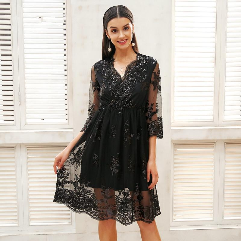2018 Nowy V Neck Z Długim Rękawem Cekiny Party Dresses Kobiety Sexy Mesh Streetwear Boże Narodzenie Midi Sukienka Kobieta Jesień Sukienka Vestido