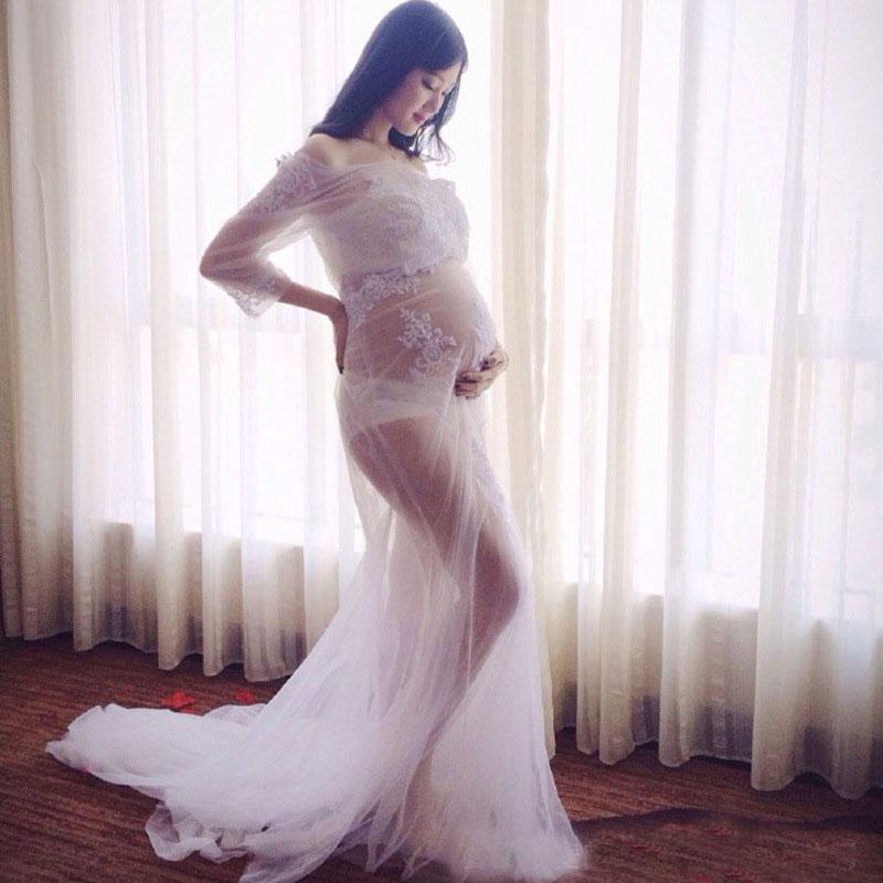 Compre Vestido Blanco De Encaje Vestido De Embarazo Vestido De Maternidad Vestidos Para Sesión De Fotos Ropa Para Mujeres Embarazadas Vestidos
