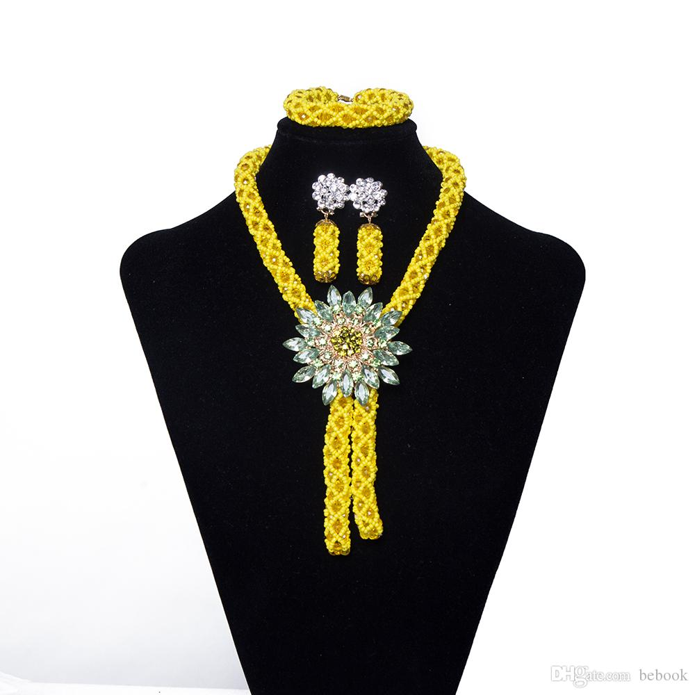 2018 Women Party Costume Jewelry African Jewelry Set Yellow Crystal Flower Necklace Nigerian Wedding Bridal Gift African Bead Jewelry Set