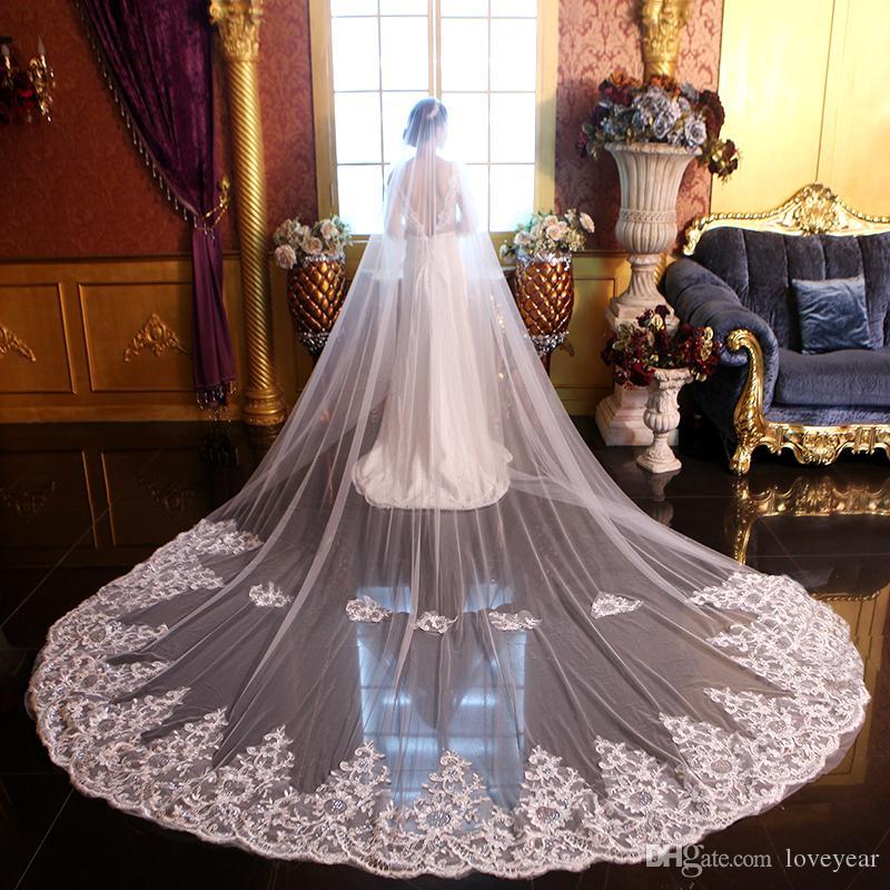 En stock Brillante Apliques Cristal Largo Velo de novia Novia Velo Dos capas Velos de novia de alta calidad con peine