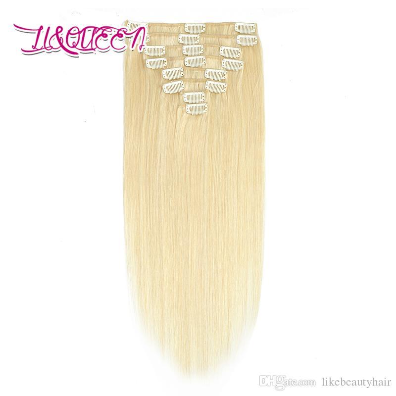 كليب البرازيلي في شعر إمتداد 8PCS / مجموعة شعر مستقيم 613 # شقراء 100G الشعر العذراء الإنسان 10-28 بوصة 613 #