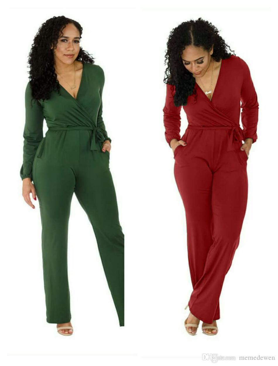 Moda Tulum Kadın Tulum V Boyun Katı Bodysuit Kadınlar Ile Kemer Uzun Pantolon Tek Parça Tulum NB-164