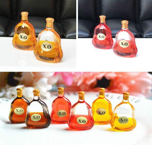 2pcs X.O Wine Bottles & Plant Bonsai & Wood Box Dollhouse Miniature Landscape Decor Toy 1/12 Scale