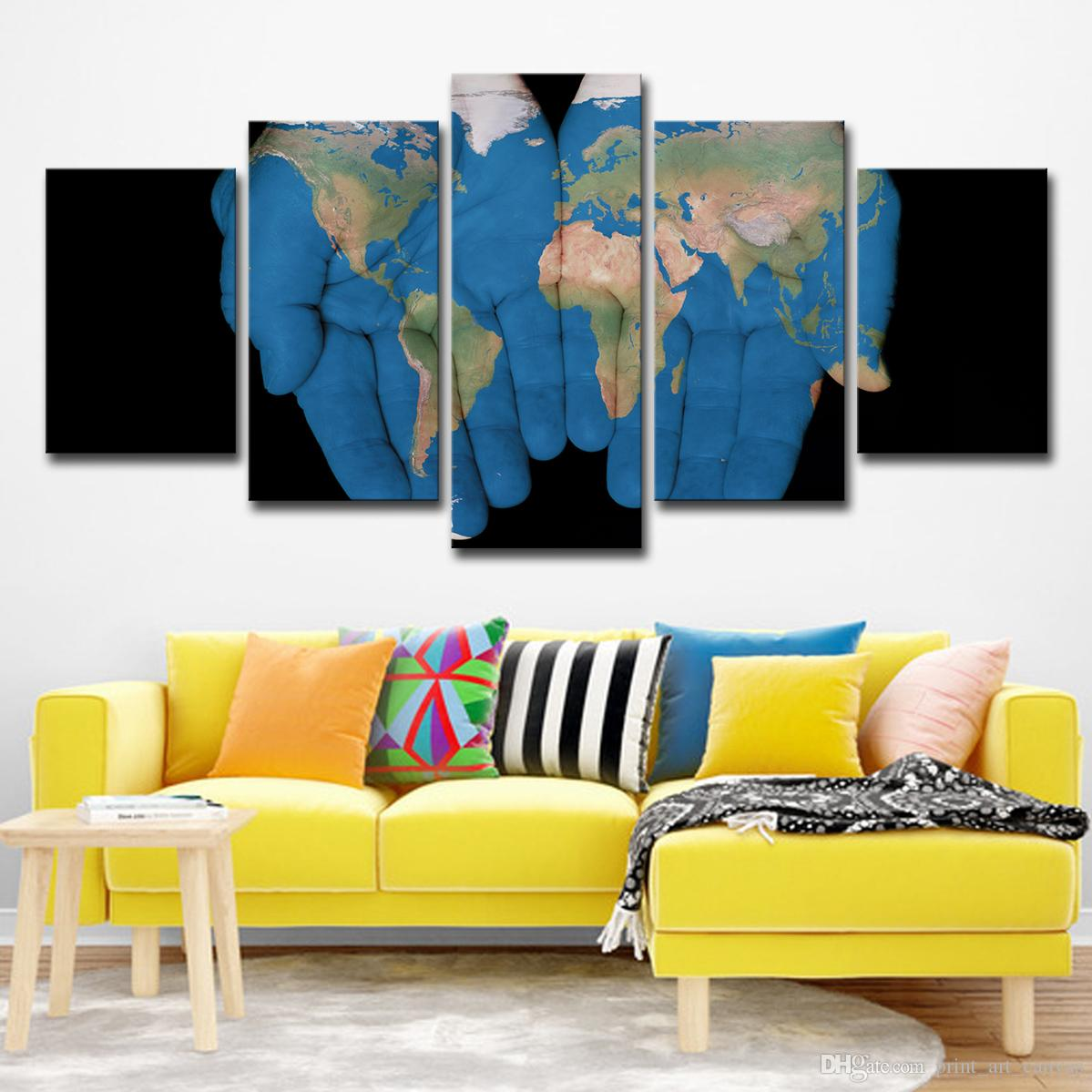 Modern Tuval Resimleri Ev Dekorasyonu HD Baskılar Posterler 5 Parça El Palms Dünya Haritası Resimleri Için Oturma Odası Duvar Sanatı