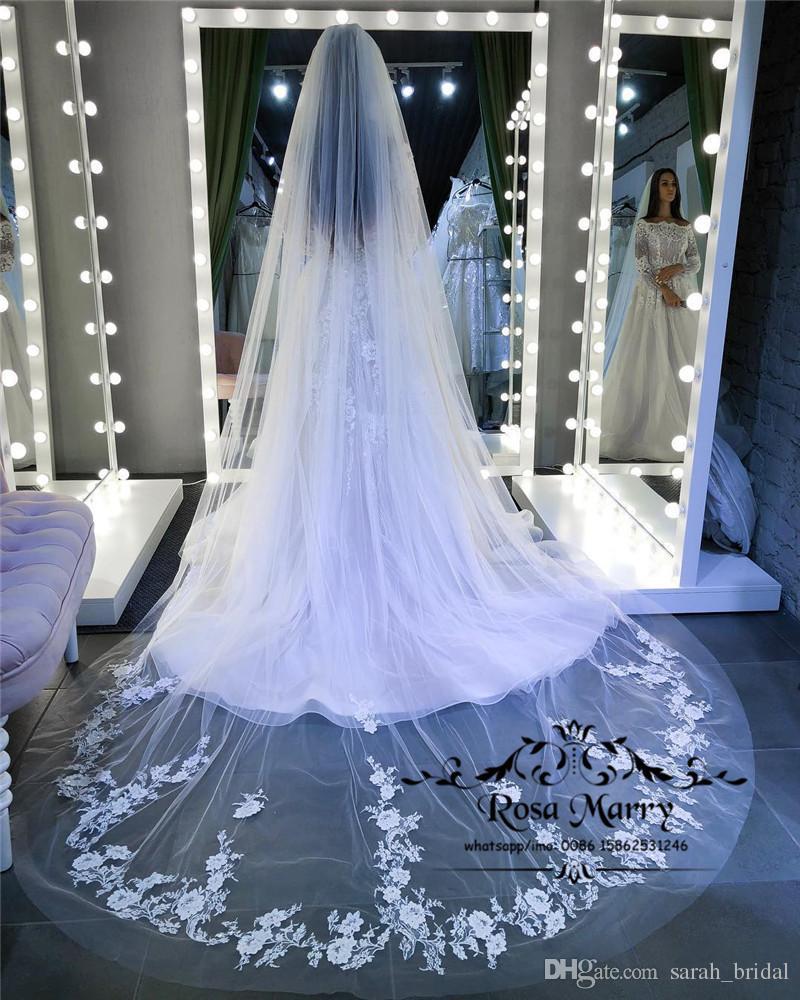 Prenses Beyaz Katedrali Tren Ucuz Düğün Peçe 2019 Ucuz Moda 3 M Tek Katmanlı Vintage Dantel Aplikler Ülke Plaj Basit Gelin Veils