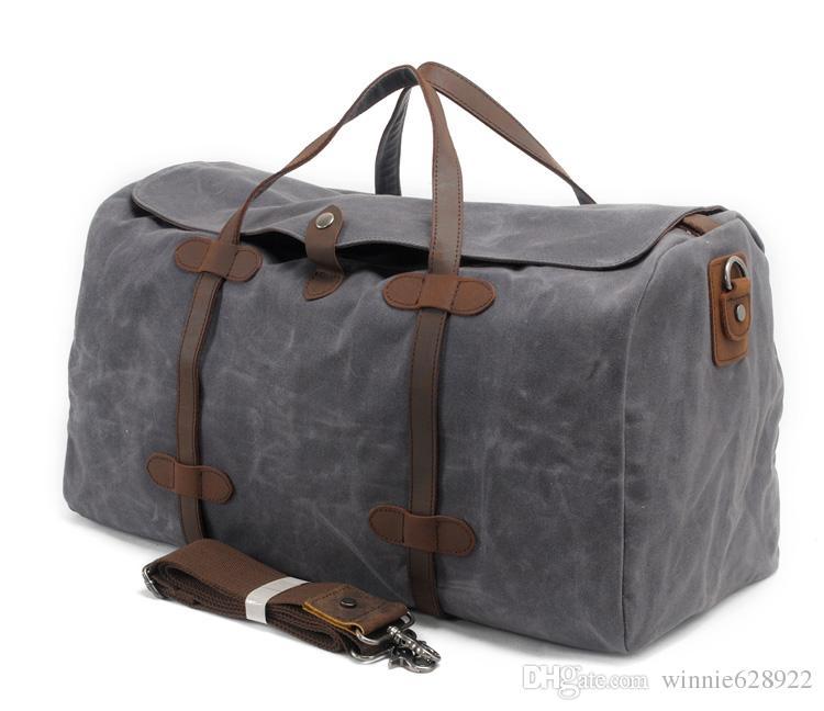 Buen bolso Traval Moda Hombres impermeables Hombres Capacidad genuina Bolsa de lienzo Calidad de cuero New Big Dubs Travel Sport Outdoor con Lu TPHCW