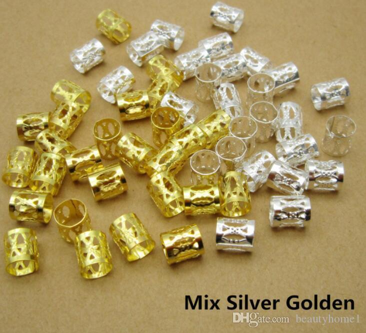 100 Unids / lote Oro / Plata / Mezcla de Plata Dorado pelos de pelo Trenzas dreadlock Cuentas ajustables clip de manguito aprox 7.5mm agujero
