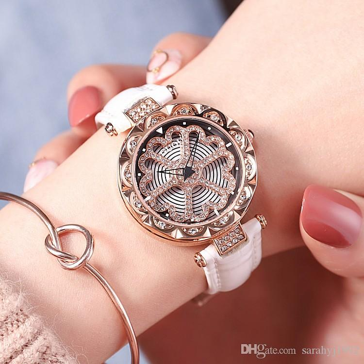 Hong Kong GUOU Watches with Bracelet Fashion Diamonds to run Heart Rhinestone Temperament Ladies Rose Gold Leather Belt Watch