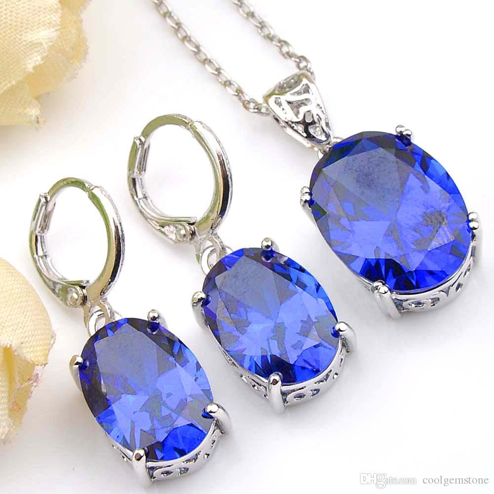 Moda Azul De Cristal Oval 6 Conjuntos Cubic Zirconia 925 Sterling Silver para Mulheres Pingentes Colar Brinco Conjuntos de Jóias de Casamento Grátis