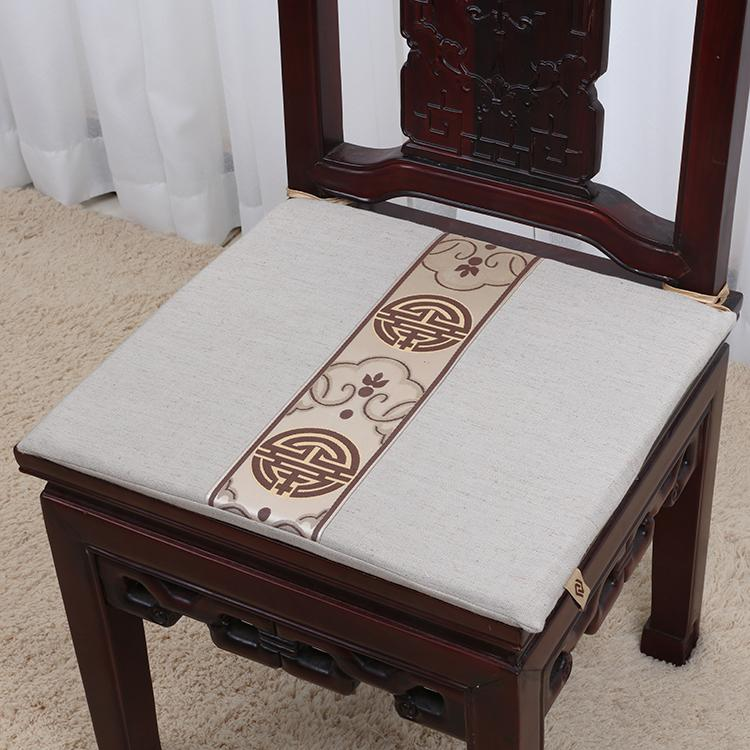 Chinese Ethnic Dining Chair Cushion Mat Decorative High End Cotton Linen Office Chair Car Seat Cushion Protective Pad