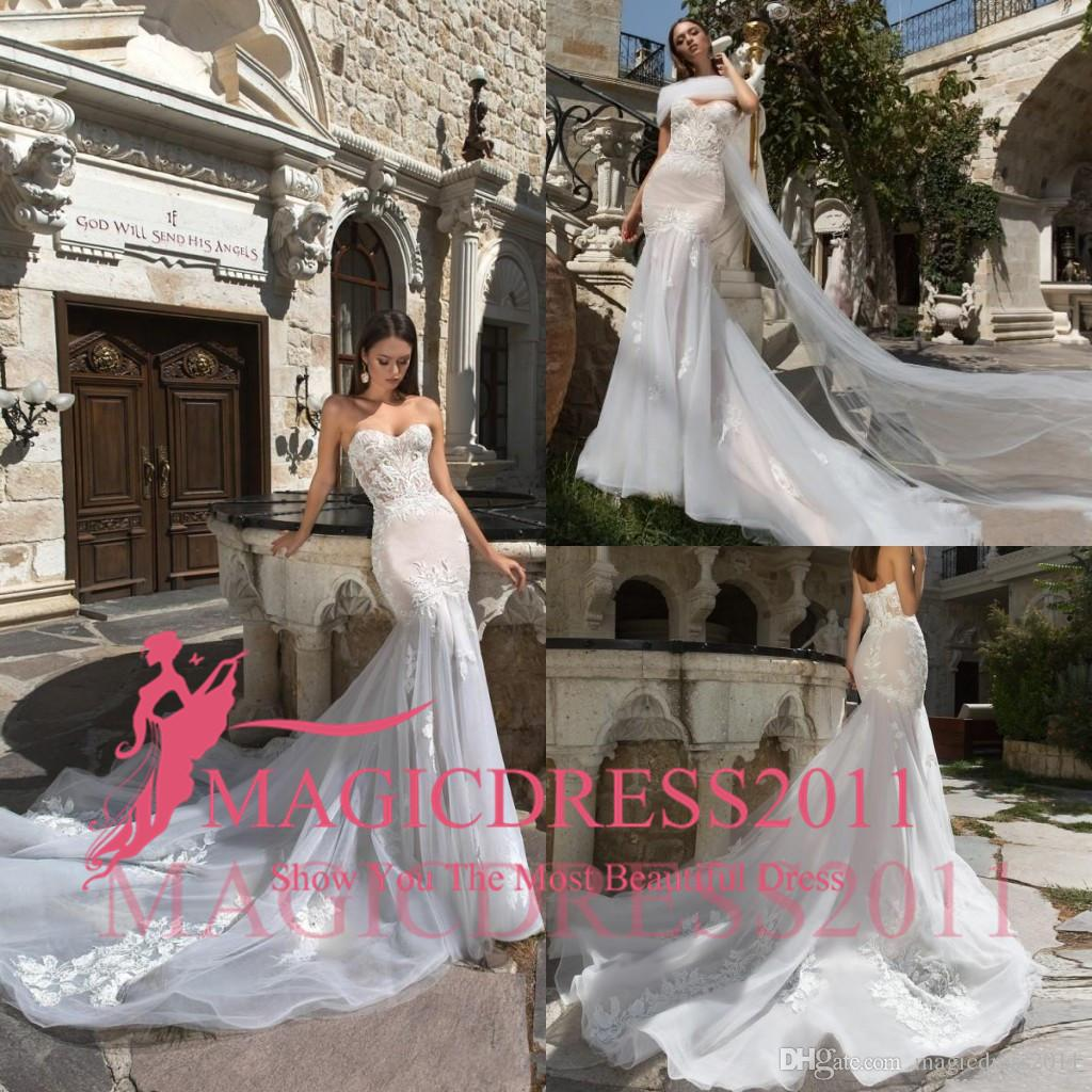 2019 Cheap Mermaid Wedding Dresses Sweetheart Lace Applique Backless Sweep Train Bridal Gowns Plus Size Custom Made