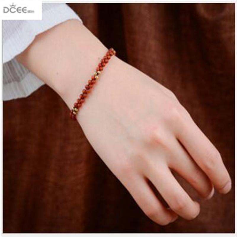New style folk wind hand knitted wax line hand ornament retro Pine beads chain bracelet jewelry lady
