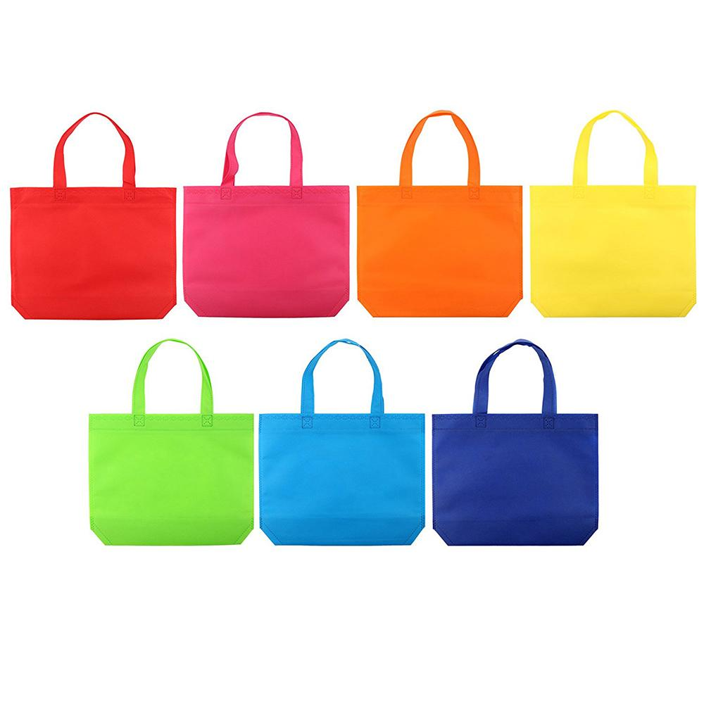 Bright Blank 7 Gift Tote Favor Diy Party 14 -Woven Shopping Pcs Bags /Set Assorted Bags Color With Handle Gift Diy Non Bnaqe