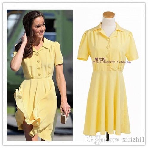2018 Лето Кейт Миддлтон европейское же сладкое цельное платье однобортный желтый с короткими рукавами с учетом воротник платье принцессы женщин