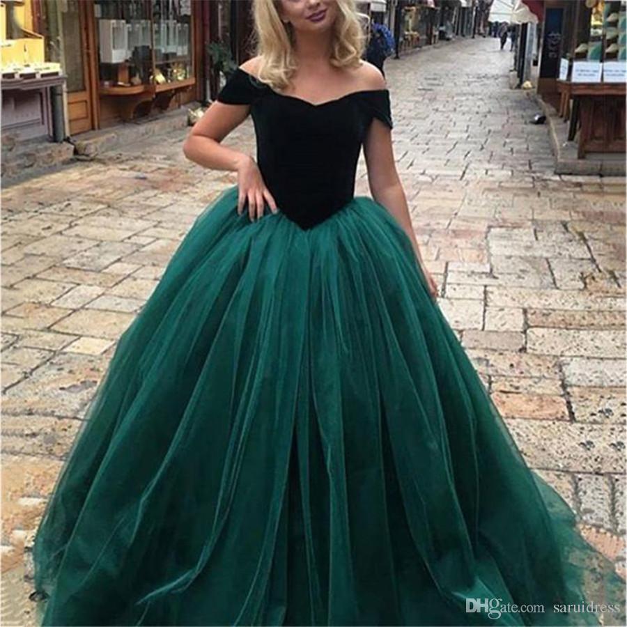 Großhandel Charming Cap Sleeve Dunkelgrün Tüll Abend Party Kleid Formale  Abschlussball Kleider Spezielle Kleid Wunderschöne Schatz Ballkleid