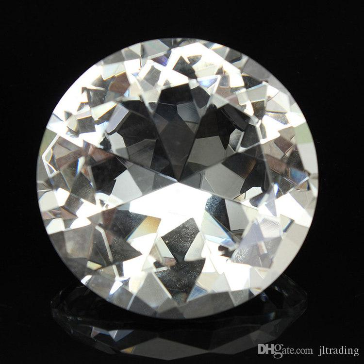 1pc Crystal Clear Paperweight Faceted Cut Glass Giant Diamond Jewelry Decor HK