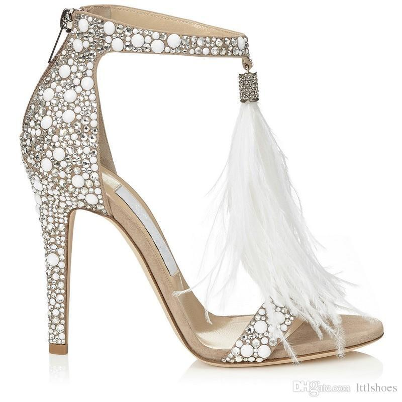 2018 Hot Cristal Embellished Pena Branca Franjas Rhinestone Sandálias de Salto Alto Sapatos de Casamento Das Mulheres Das Senhoras Stiletto Bombas