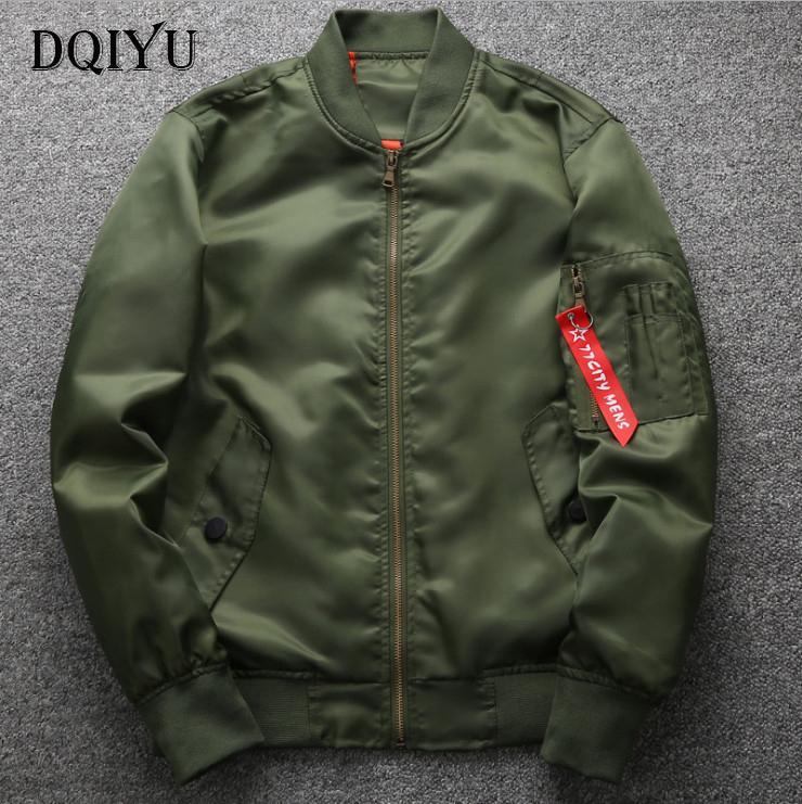 DQIYU Primavera Outono vôo Jacket New Fashion Jacket Mens Fino Brasão gordura Masculino Bomber Jacket Exército Verde 6XL