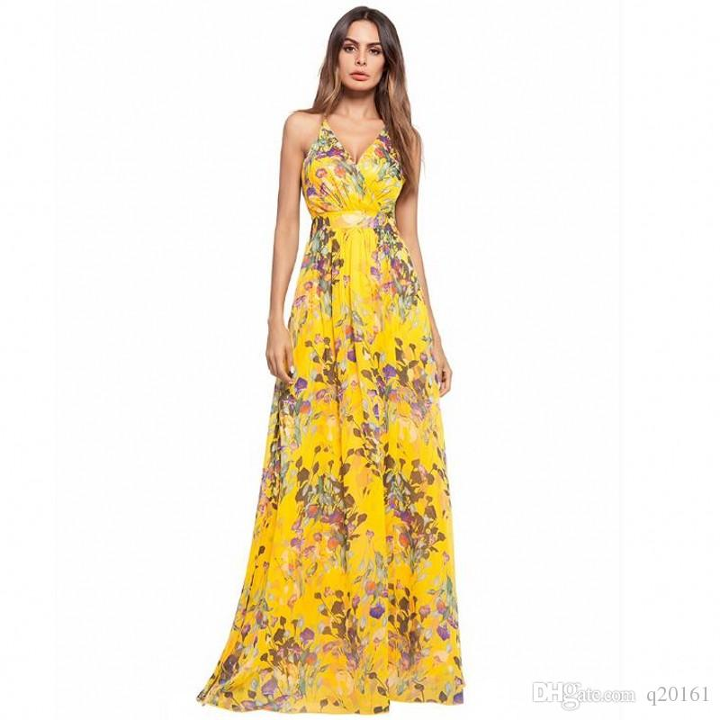 f6c18257566 2019 Spring And Summer Women Floral Printing Sleeveless Sexy Boho Dress  Evening Gown Party Long Maxi Dress Summer Sundress Casual Dresses From  Q20161, ...